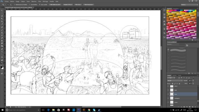 Etape croquis finalisé : La bulle dorée en digital painting